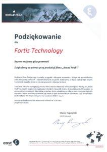 Podziekowanie od East Studio dla Fortis Technology Broad Peak - zbiorniki Turtle